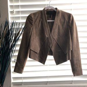 Bcbg Brown Faux Suede Leather Jacket Blazer